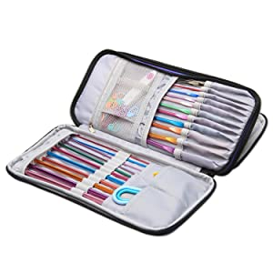 Teamoy Tunisian Crochet Hook Case(up to 11 Long), Travel Organizer Bag for Afghan Crochet Hooks, Ergonomic Crochet Hooks, Knitting Needles and Accessories, Well Made, Large Capacity, Purple Dots (Color: Purple Dots, Tamaño: Medium)