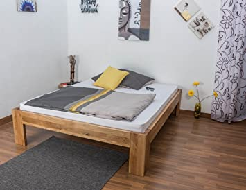Double Bed Wooden Nature 91, solid wild oak, oiled - 180 x 200 cm