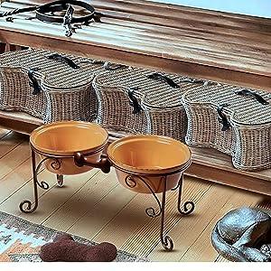 BestVida Sparks Raised Dog Bowls (Large, Almond) (Color: Almond, Tamaño: Large)