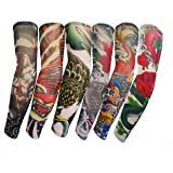 ZQXPP Summer Uv Protection Stretchy Driving Cycling Seamless Tattoo Arm Sleeves Body Arm Stockings Tatoo (Group6-6 PCS) (Color: Group6-6 PCS, Tamaño: One Size)