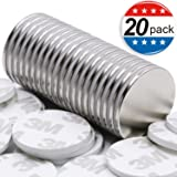 Strong Neodymium Disc Magnets with Double-sided Adhesive, 1.26
