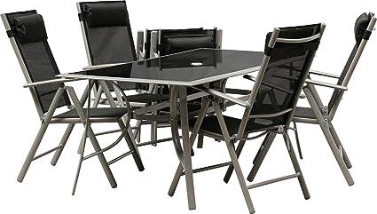 IB-Style - Top Gartenmöbel JAMAICA Gartengarnitur Alu/Textilen | 6 Kombinationen in 2 Abmessungen wählbar | Gartentisch schwarzglas | Sitzgruppe - 9-Teilig Tisch 150 x 90 cm Schwarzglas