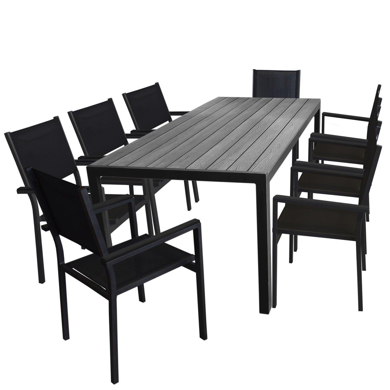 9tlg. Gartengarnitur Aluminium Gartentisch, Tischplatte Polywood, 205x90cm + 8x Aluminium Stapelstuhl, 4x4 Textilenbespannung, schwarz - Gartenmöbel Set Sitzgarnitur Sitzgruppe