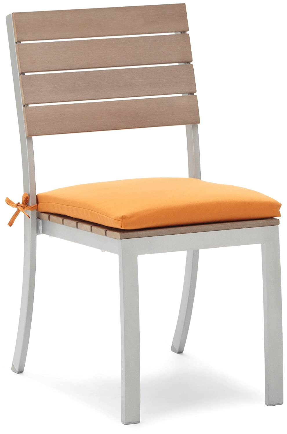 Dining Armless Chair Cushion Reversible Polyester Fabric Outdoor Solid Tanger