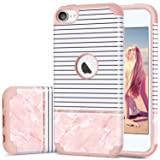 Fingic iPod Touch 5 Case,iPod Touch 6 Case, iPod 7 Case,Rose Gold Slim 2 in 1 Hybrid Case Stripes Pink Marble Design Hard PC&Silicone Protective Case Compatible for iPod Touch 5 6 7 Generation (Color: Multi-Colored)