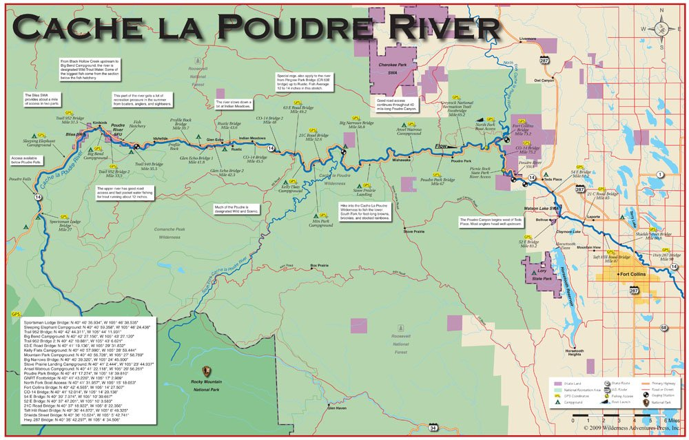 Cash advance cache credit card for Colorado fly fishing map