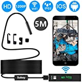 Endoscope iPhone, Sukey Wireless Endoscope Inspection Camera Borescope iPhone 2.0MP HD Waterproof IP68 WiFi Borescope Semi-Rigid Snake Camera iPhone, Android, iOS Smartphone, Tablet, PC (16.5FT) (Color: Black, Tamaño: 5M(16.5ft))