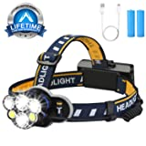 Headlamp Flashlight,6 Led Head lamps USB brightest Rechargeable Headlight 12000 lumen Waterproof 8 Modes,Include 18650 Batteries and USB Cable for outdoor camping