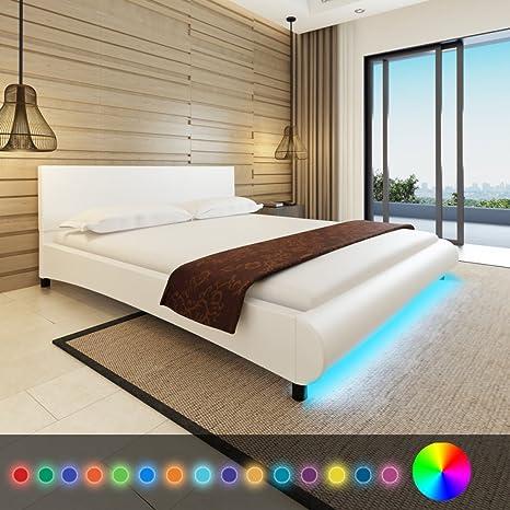 Anself Polsterbett Bett Doppelbett Ehebett Gästebett aus Kunstleder 180x200cm mit Matratze und LED-Streifen Weiß