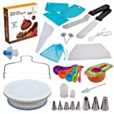 Cake and Cupcake Decorating Supplies 44 pcs - Turntable Stand, Measuring Cups and Spoons, Pastry Icing Bags, Leveler, Seamless Piping Tips, Spatulas,