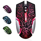 Wireless Gaming Mouse, VEGCOO C8 Silent Click Wireless Rechargeable Mouse with Colorful LED Lights and 2400/1600/1000 DPI 400mah Lithium Battery for Laptop and Computer (C8N Black) (Color: C8N Black)