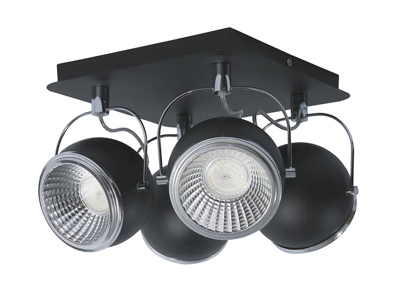 SPOT-LIGHT Deckenleuchte Modell Ball 4 Spots inklusive 4 x GU10, 5 W LED, 3000 k, metall, chrom / schwarz 5009484