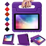 Kids Case for Fire 7 Tablet (7th Generation, 2017 Release), LTROP EVA Super Protective Fire 7 Case for Kids, Anti-Slip Light Weight Shock-Proof 2017 New Fire 7 Tablet Case – Purple (Color: Amazon Fire 7 Case (7
