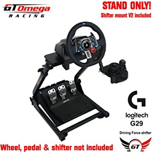 GT Omega Racing Wheel Stand PRO for Logitech G29 G920 with Shifter Mounts V1 & V2, Thrustmaster T500 T300 TX & TH8A - PS4 Xbox Fanatec - Tilt-Adjustable to Ultimate Gaming Console Experience