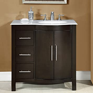 Silkroad Exclusive Carrara White Marble Top Off Center Single Sink Bathroom Vanity with Cabinet, 36-Inch