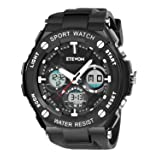 ETEVON Men's 'Captain' Stylish Outdoor Sport Watch with Thicken Silicone Strap - 30m Waterproof - EL Luminous - Multifunction - Dual Time Display - Qu
