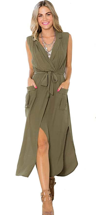 SheIn Women's Army Green V Neck Sleeveless Split Pockets Maxi Dress
