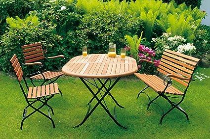 Klappgarnitur Schlossgarten 5-teilig, Stahl + Eukalyptus, FSC®-zertifiziert