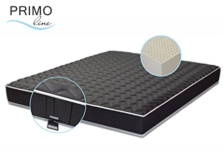 Primo Line Latexmatratze Black Label - 7 Zonen orthopädische Matratze 180x200 H3 Höhe 20cm RG 70 (bis 125 kg) - Designer Doppeltuch-Bezug waschbar schwarz - ÖKO TEX® zertifiziert