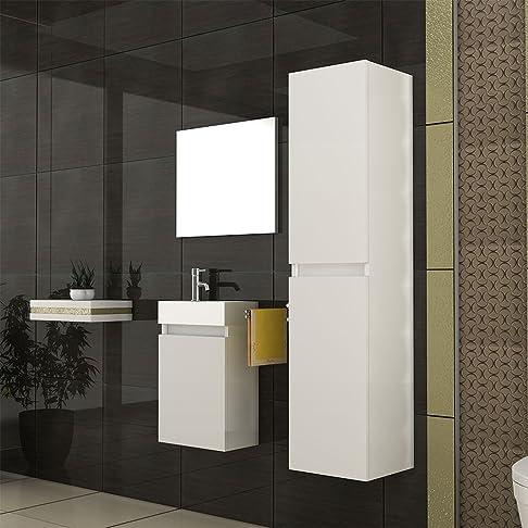 Mobile da bagno/lavandino con mobiletto/alto armadio/Specchio Design/bianco