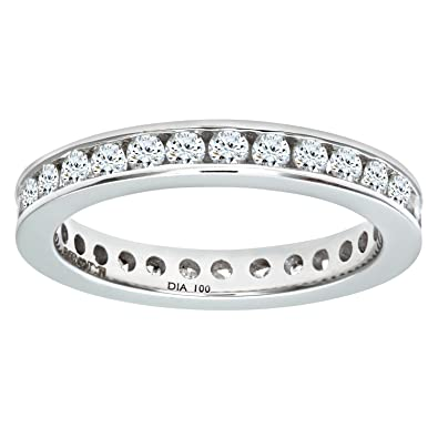 Naava 18 ct White Gold 1 ct Diamond Channel Set Eternity Ring, White Gold, O