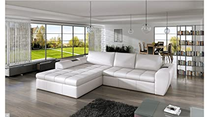 BMF La Costa Corner Sofa Bed White Faux Leather / Fabric Left Facing GOOD PRICE !!!