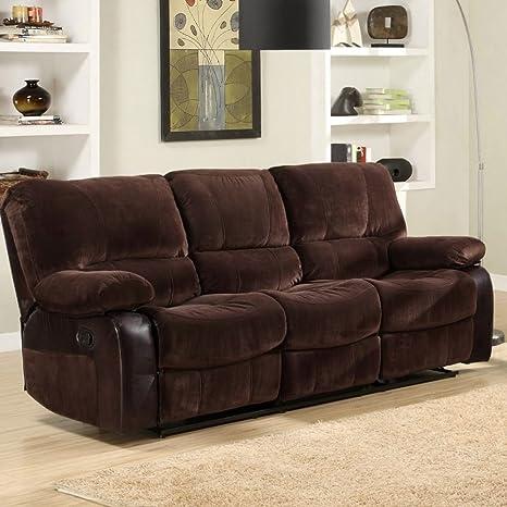 Homelegance Caputo Recliner Sofa in Dark Brown