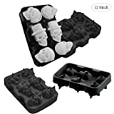 JuneLady Silicone Skull Mold 2 Pack Ice Cube Trays for Whiskey Cocktails and Vodka with Lid (Color: 2 pack)