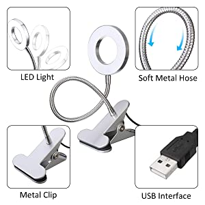 SKYMORE LED Book Light, Portable Clip Lamp, USB Rechargeable, 2 Brightness(Warm/White) with Eye Protection, Perfect for Night Reading, Tattoo, Nail Art & Eyebrow Make Up Tattoo Lamp (Color: Silver)