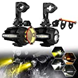 SUPAREE 2 Pcs 40W LED Auxiliary Lamp 6000K Flash Strobe Fog Driving Light Kits with Amber Turn Signals DRL For Motorcycle BMW R1200GS F800GS K1600 KTM HONDA Harley Davidson (Lightx2) (Color: Yellow)