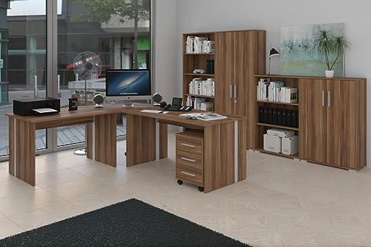 Buromöbel Set - Komplettes Arbeitszimmer in Walnuß Dekor, 8 - teilig