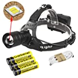 Garberiel XHP50 Super Bright 6000 Lumens LED Headlamp USB Rechargeable Headlamp Headlight Flashlight Zoomable Light with 3 x Battery and USB Cable (Color: Black)