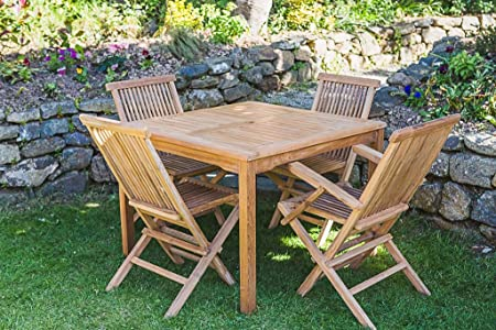 Solid Teak Fixed 1m Square Table and Folding Chair Combo Garden Furniture Set