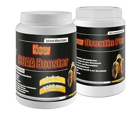 Creatin Pur 500g+BCAA Booster 454g Multifrucht! 100% Kreatin Monohydrat Fettverbrennung hochwertige tierische Molkenprotein Eiprotein Aminosäuren stark anabol fur maximalen Muskelaufbau