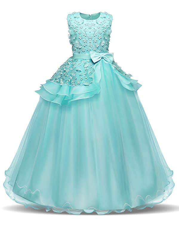 795231e5a1a61 NNJXD Girl Sleeveless Embroidery Princess Pageant Dresses Kids Prom Ball  Gown Size (120) 4-5 Years ...