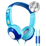 Kids Headphones, Mumba Volume Limited Over Ear Headphones, 85 Safe Listening Adjustable Headsets with Microphone for Kids Children (Blue)
