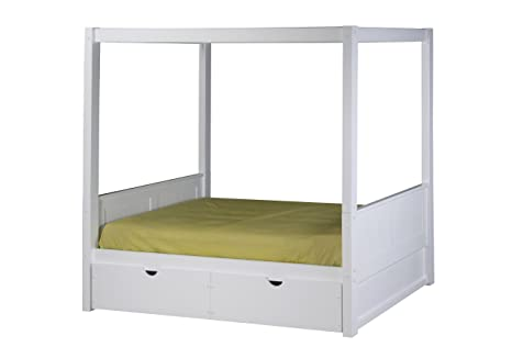 Camaflexi Panel Style Solid Wood Canopy Bed with Drawers, Twin, White