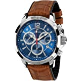 Louis XVI Men's-Watch Athos le Grand l'argent bleu brun Swiss Made Chronograph Analog Quartz Leather Brown 497