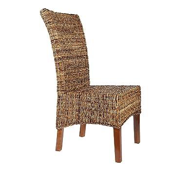 Chaise en rotin marron elips abaca chaise de for Chaise de cuisine en rotin
