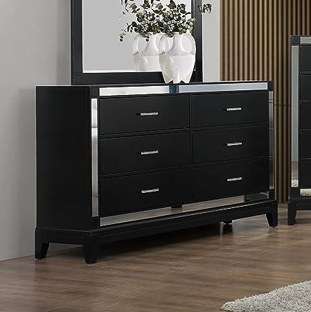 Roundhill Furniture Zimline Crocodile Dresser, Black