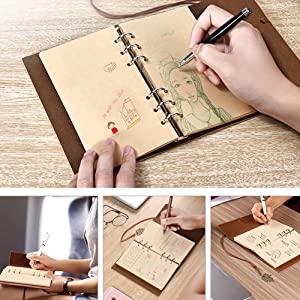 Leather Writing Journal Notebook MALEDEN Classic Spiral Bound Notebook Refillable Diary Sketchbook Gifts with Unlined Travel Journals to Write in for Girls and Boys