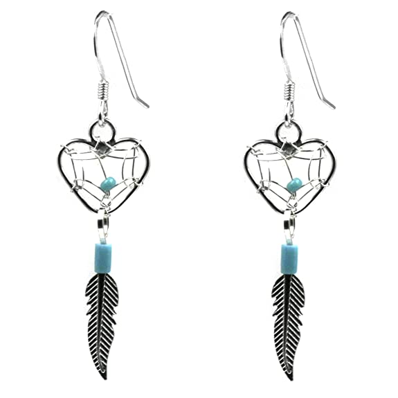 Dream Catcher Sterling Silver Turquoise Imitation Heart Earrings -- $25