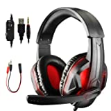 Etpark LED Gaming Headsets for PS4 Xbox One PC Laptop, 3.5mm Stereo Gaming Headphones, Over-Ear Surround Sound Headphone, Volume Control Headset with Noise Cancelling Mic (Black with LED) (Color: Black with LED)