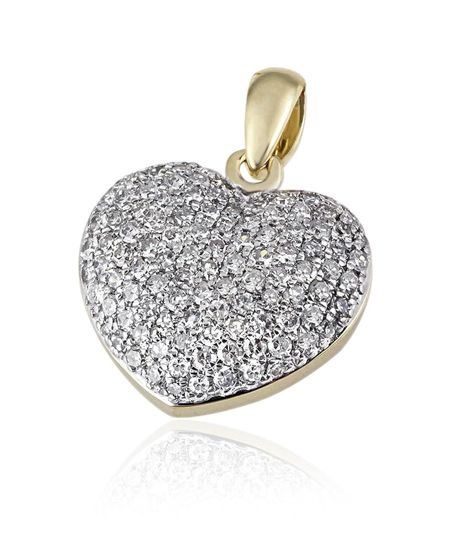 Goldmaid Damen-Anhänger Pavee Herz 14 Karat 585 Gelbgold 112 Diamanten SI/H 0,75 ct. He A6123GG