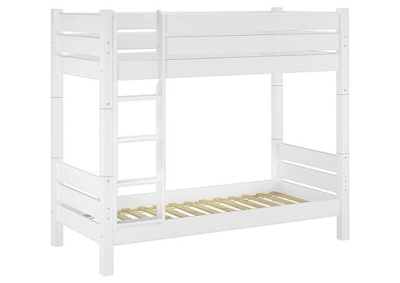Solido letto a castello di pino color bianco adatto anche PER ADULTI 80x200 divisibile con nicchia di ca. 100cm 60.16-08 W T100
