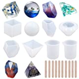 EuTengHao 18Pcs DIY Silicone Resin Casting Molds Tools Set Includes 6 Resin Casting Molds Large Clear Silicone Molds 2 Measurement Cup 10 Wood Sticks for DIY Home Decoration (Color: Set a)