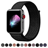 Yunsea Compatible for Apple Watch Band 42mm, New Nylon Sport Loop, with Hook and Loop Fastener, Adjustable Closure Wrist Strap, Replacment Band Compatible for iwatch, 42mm, N+ Black (Color: Loop-N+black, Tamaño: 42 mm)