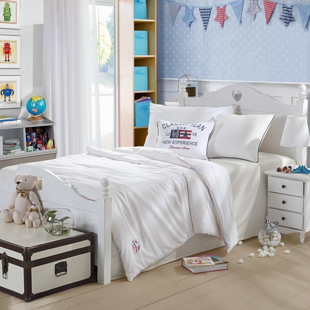 LOVO KIDS Jacquard Weave Natural 100% Mulberry Silk Goose Down Alternative Quilt Comforter Duvet Insert Super Soft All-season White Queen