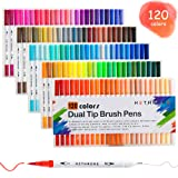 Hethrone Dual Tip Brush Pens with Fine-Liner Tip 0.4, Dual Tip Marker Pens Water Based Ink for DIY Coloring Book, Sketching, Painting, Drawing, Manga Fashion Design(120-Color) (Color: 120-Color)