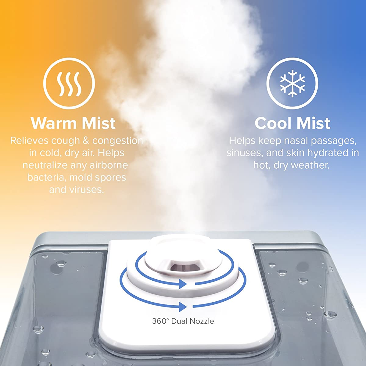 Levoit Cool Amp Warm Mist Humidifier Ultrasonic Air Vaporizer Automatic Remote Control 6l 16